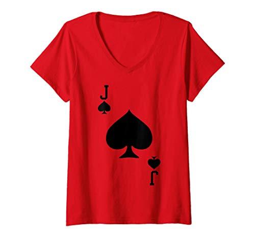 Mujer El disfraz de la Jota de Espadas Camiseta Cuello V
