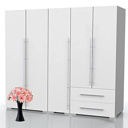 Bonamaison Haus Möbel, Kleiderschrank mit fünf Türen und Zwei Schubladen, Kleiderschrank, 18mm MDF, Weiß, 200x47x185 cm