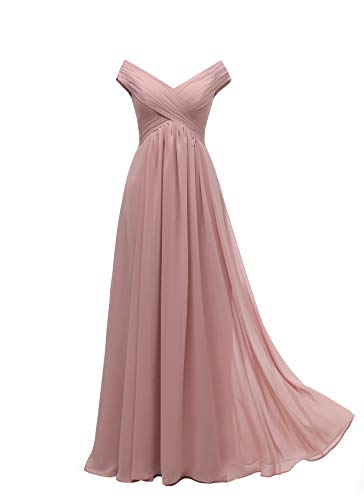 Clothfun Off Shoulder Beach Dusty Rose Bridesmaid Dresses Long for Women 2020 Formal Evening Dresses with Pockets 8