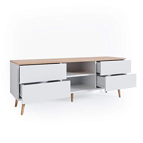 Vicco Lowboard Corona TV Schrank Kommode in grau und weiß verfügbar, Scandi-Look