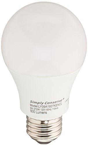 Simply Conserve L09A1927KENCL 9W (60W equiv) Dimmable Energy Star Light Bulb A19 LED Lightbulb, 1 Each, Warm White