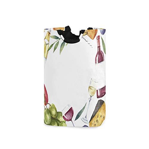 LOSNINA Wäschesammler Wäschekorb Faltbarer Aufbewahrungskorb,Wein Aquarell Food Frame Print,Wäschesack - Wäschekörbe - Laundry Baskets