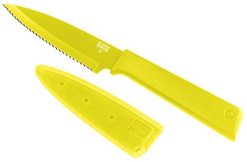 KUHN RIKON 26625 Rüstmesser-26625 mit Klingenschutz, antihaftbeschichtet, Edelstahl, 19 cm, gelb, 18/8