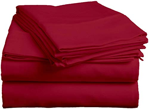 Exclusive Sheets - 4 Piece Sheet Set 16' (40cm Deep Corners) - Long Staple 1000 Thread Counts 100% Egyptian Cotton (Euro Small Single Size, Burgundy Solid)