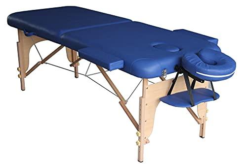 Table de massage en bois pliante à 2 sections bleue 186x71cm