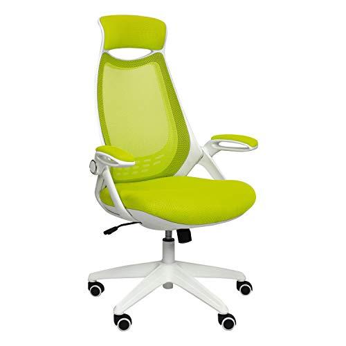 CashOffice - Silla de Escritorio Ergonómica Transpirable - Silla de Oficina con Reposabrazos Abatibles (Verde)