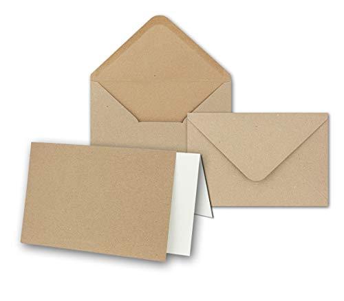 Kraftpapier-Karten - ca. B6 inklusive Briefumschläge & Einlegeblätter - 50er-Set - Blanko Recycling Einladungskarten in Braun - bedruckbare Postkarten