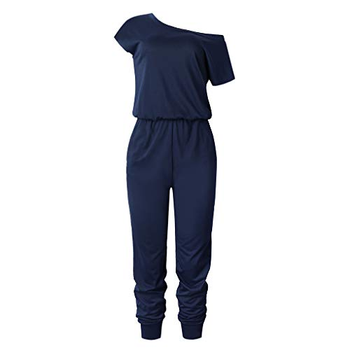 Floridivy Vrouwen Girl Oblique Schouder Jumpsuit Vrouwen korte effen kleur met korte mouwen Lange Bodysuit