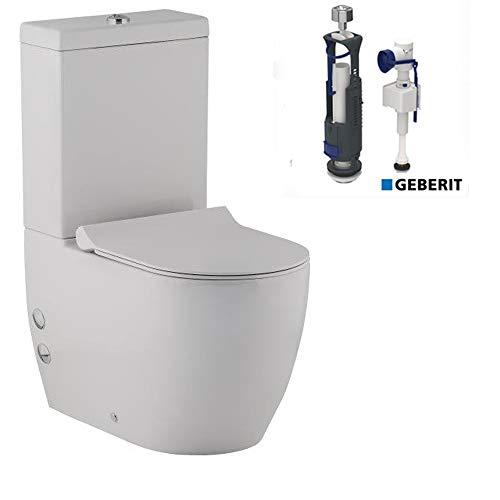 Stand- WC Komplett Set mit Spülkasten + GEBERIT Spülgarnitür + Abnehmbarer WC-Sitz mit Absenkautomatik | Bodenstehend Tiefspüler Toilette | Ablauf Waagerecht und Senkrecht möglich
