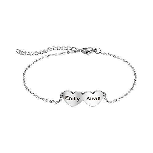 Personalized Mothers Bracelet with 2-5 Names Mothers Love Hearts Bracelet Custom Name Bracelets Engraving Women's Link Bracelets Personalized Name Bracelets for Women (Name 2)