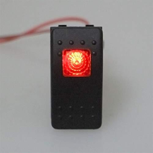 DIBAO Interruptores y relés de automóviles. 4 Pin ON - Off del Impermeable 12V 20A Bar Rocker Interruptor eléctrico de luz LED de Coches en Barco marítimo Vehículos (Color : Red)