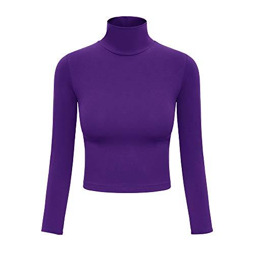 Purple Turtleneck Women Long Sleeve Crop Top Turtle Neck Soft Lightweight Basic Slim Fit Tops Purple S