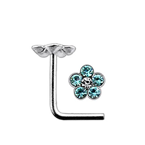 Licht blau Multi Kristall Blume 22 Gauge 925 Sterling Silber L Bend Nase Piercing