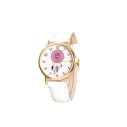 Bao Xiang Women Dream Catcher Watch Reloj Análogo De Cuarzo con Brazalete De Cuero Vestido De Patrones De Patrón De Willbell Regalo para Mujeres (Blanco) Dream Catcher Watch