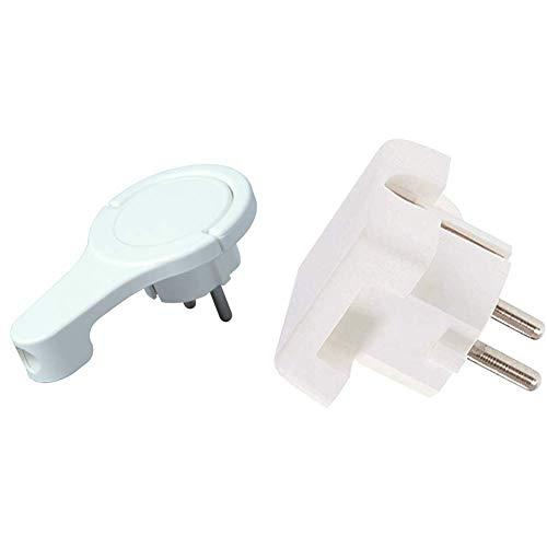 Kopp Schutzkontakt-Winkelstecker, extraflach aus Kunststoff (8mm Höhe), 250V (16A), für Kabel bis 3x1,5 mm², IP20, arktis-weiß, 172002037 & Bachmann Flächenstecker Schutzkontakt, 911270, Weiß