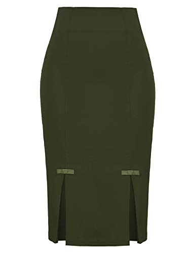 Belle Poque Plus Size Wear to Work Stretchy Office Pencil Skirt Olive Green,XXL BP587-18