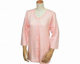 婦人用 キルト八分袖前開きシャツ(ワンタッチテープ式) ピーチ LL W461 (ウエル) (返品不可)