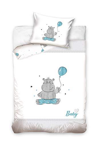Baby Bettwäsche Set 2tlg. 100% Baumwolle Größe: 100x135 cm, 40x60 cm (Nilpferd Blau)