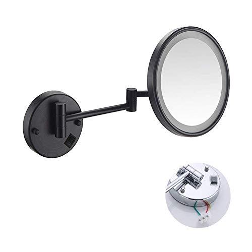 Specchio da trucco con luce a led Specchio da barba da parete con ingrandimento 3X estensibile e finitura cromata con foratura o senza foratura Singolo lato rotondo, trucco e rasatura