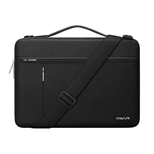 MOSISO 360 Schutz Laptop Umhängetasche Kompatibel mit MacBook Pro/Air 13,13-13,3 Zoll Notebook,Polyester Seitliche Offene Aktentasche mit Vorne Horizontalen&Vertikalen Tasche&Trolley Gürtel, Schwarz