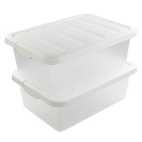 Wekiog Versatile Storage Organizer Plastic Bins with Lids, White 2 Packs, 14 Quart.
