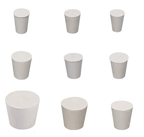 Vollgummi Stopfen, 18 Stück, weiß, Vollgummi-Stopfen Laborgummi Stopfen Rohr Tank Flasche Push-In Dichtstopfen Kegelloch-Bung, 9 verschiedene Größen (18)