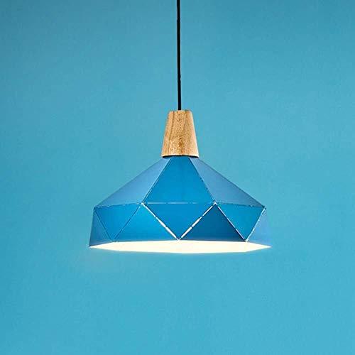 WSJTT Calefactor Candelabro LED Azul Amarillo Luz de Techo Luz cálida Hierro Candelabro de Madera Comedor Sala de Estar Estudio Dormitorio Simple Minimalismo Moderno (Color:Azul) (Color : Blue)
