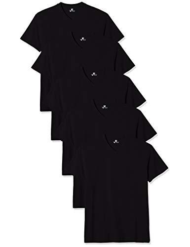 Lower East Herren T- Shirt mit V-Ausschnitt aus 100 Prozent Baumwolle, 5er Pack, Schwarz, L