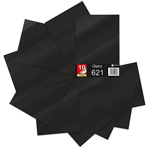 10 x Din A4 Bögen Plotterfolie 621/631 Selbstklebende Folie im Set Vinyl zum Plotten DIY Bastelfolie Sticker Beschriftung Aufkleber 29,7x21cm (Schwarz glanz, 10er Set)
