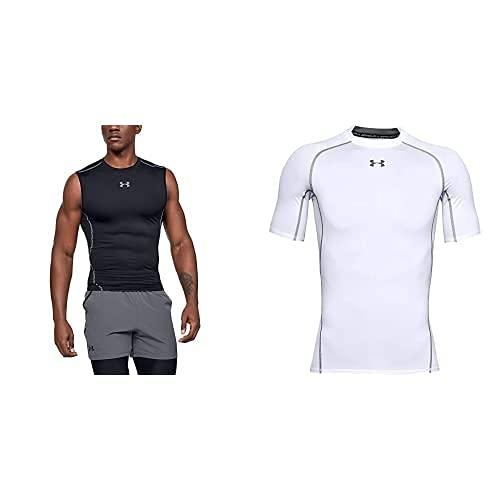 Under Armour UA Heatgear Armour Sleeveless, Camiseta Sin Mangas Hombre, Negro (Black/Steel 001), L + UA Heatgear Short Sleeve Camiseta, Hombre, Blanco (White/Graphite), L