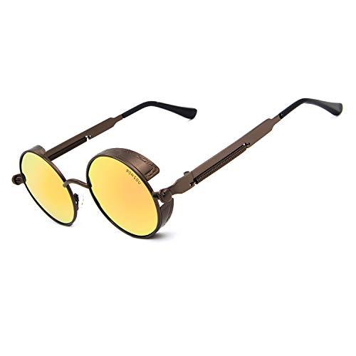 RONSOU Steampunk Stil Rund Vintage Polarisiert Sonnenbrillen Retro Brillen UV400 Schutz Metall Rahmen braun rahmen/gold linse