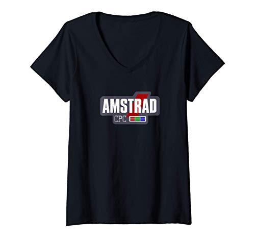 Mujer Amstrad CPC Retro Ordenadores Vintage (logo blanco) Camiseta Cuello V