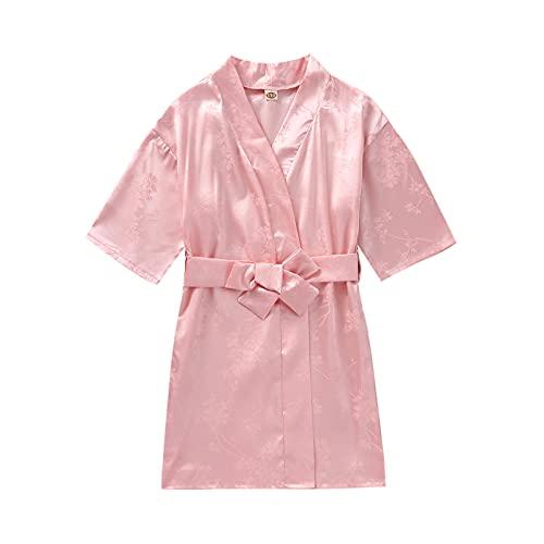 Kimono de satén para niños con flores de color puro/albornoces florales para spa, boda, fiesta de cumpleaños, lencería, ropa de dormir, albornoz