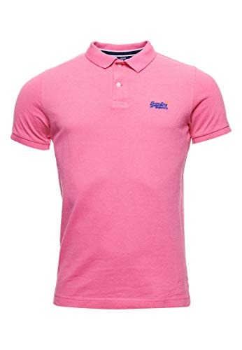 Superdry Herren Classic Pique S/S Polo Poloshirt, Rosa (Shocking Pink Twist 3EY), Large