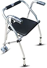 Folding Walker with Seat Wheels, Aluminum Height Adjustable Walker, 2 Colors