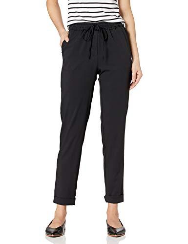 Amazon Brand - Daily Ritual Women s Fluid Stretch Woven Twill Cuffed Pant, Black, Medium