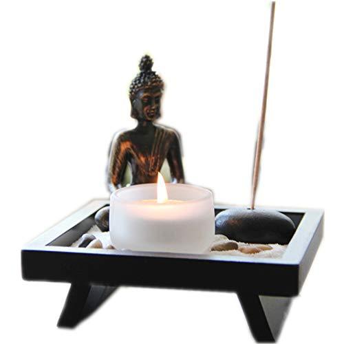Hjyi Meditatie Zen Tuin, Meditatie Zen Garden Zen Tuin Chinese Zand Tafel Boeddha Beeld Decoratie Zen Kandelaar Wierook Geplaatst In De Thaise Woonkamer Veranda Thee Tafelkamer Meubels