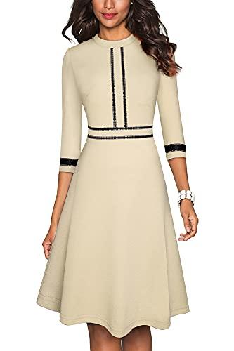 HOMEYEE Vestido de cóctel A135 para mujer, vintage, cuello redondo, manga 3/4, largo hasta la rodilla, estilo retro albaricoque M