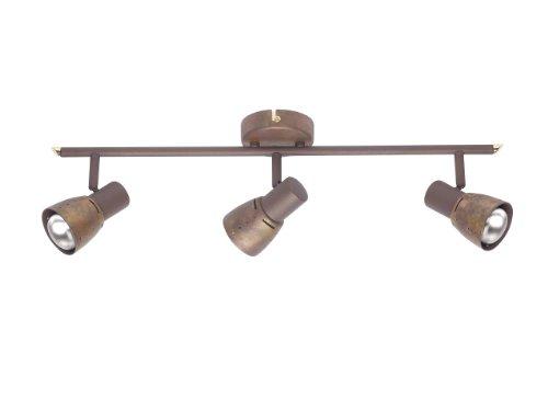 lampadario rustico taverna Brilliant - 39516/56 - Barre 3 Lumières Orientable - Lava - 3 x 40 W - E14 - Marron