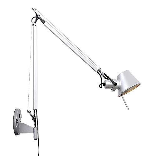 Damai Lámpara De Pared con Iluminación Ajustable Brazo Articulado Apliques De Pared Largo con Polo-Plata Único