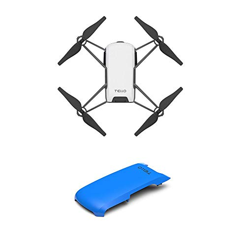 Tello Quadcopter Drone with HD Camera and VR,Powered by DJI Technology and Intel Processor,Coding Education,DIY Accessories,Throw and Fly (Blue Cover)