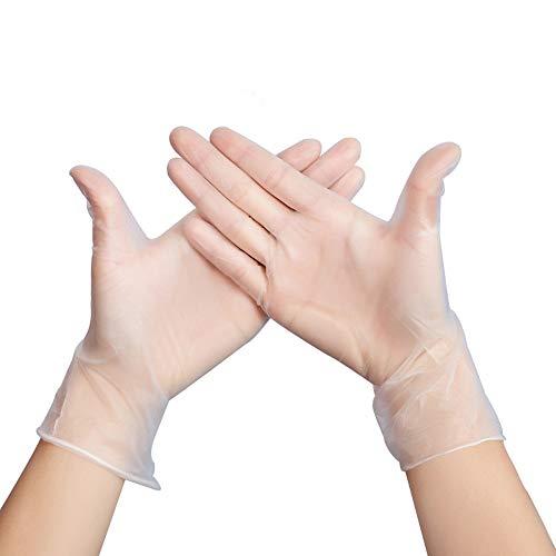 Guantes de nitrilo transparente Guantes libres de látex sin polvo Limpieza Guantes sanitarios para la cocina Cocina Limpieza Limpieza Seguridad Manejo de alimentos, 100pcs / Caja (M,White)