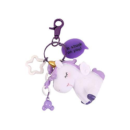 Toyvian Felpa Unicornio Animal de Peluche Colgante Llavero Bolso Bolso Llaves Del Coche Llavero Colgante Encanto Decoración Accesorio Regalo (Púrpura)