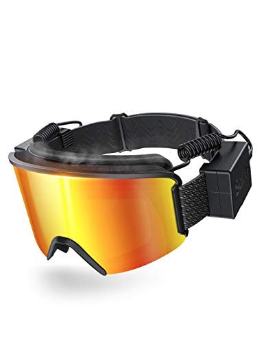 Ski Snowboard Goggles with Heated Graphene Anti-Fog Lens Charged Snow Sport Goggles Far Infrared Over-Glasses Double Lenses Helmet for Men, Women & Youth, Skiing Compatible UV Full Protection for Eyes