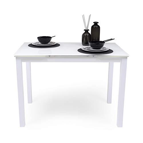Homely Mesa de Cocina Extensible Paris Total White sobre de Cristal y Estructura en Metal 110/170x70cm (Blanco Total) ⭐