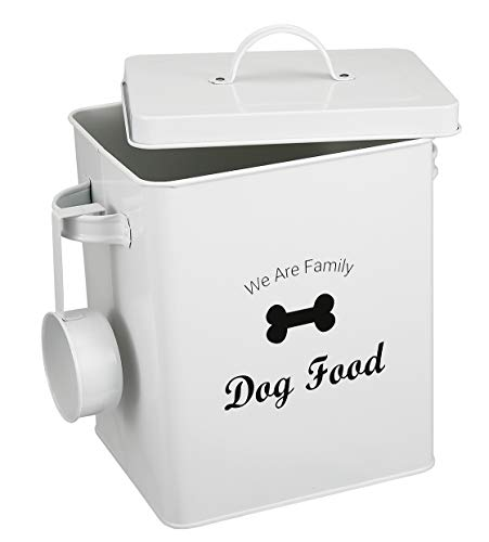 Pethiy lata de almacenamiento de alimentos para perros, gatos, mascotas, con tapa, capacidad de 5 libras | Cuchara para servir incluida