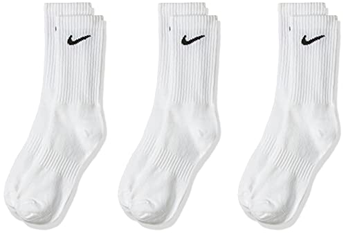 NIKE U NK Everyday Ltwt Crew 3Pr Socks, Hombre, White/ Black, L
