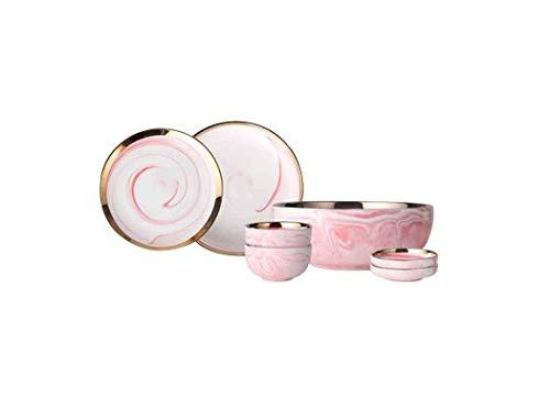 Xiao-bowl3 7 UNIDS Estilo Japonés Vajilla Combinación de Vajilla Platos Set Home Marble Texture Bowl Ceramic Plate