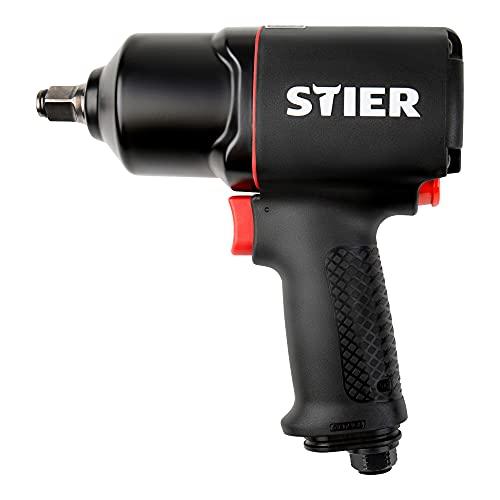 STIER Druckluft-Schlagschrauber 17-BS, max. Lösemoment 1,756 Nm, vierkant, 1/2 Zoll, Stecknippel 1/4 Zoll, Doppelhammer-Schlagwerk, 3 Geschwindigkeitsstufen, Rechts- und Linkslauf