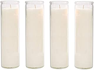Brilux Classic White Candles in Glass, Set of 4, 8-INCHES Tall